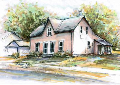 Painting of homes multimedia original sold